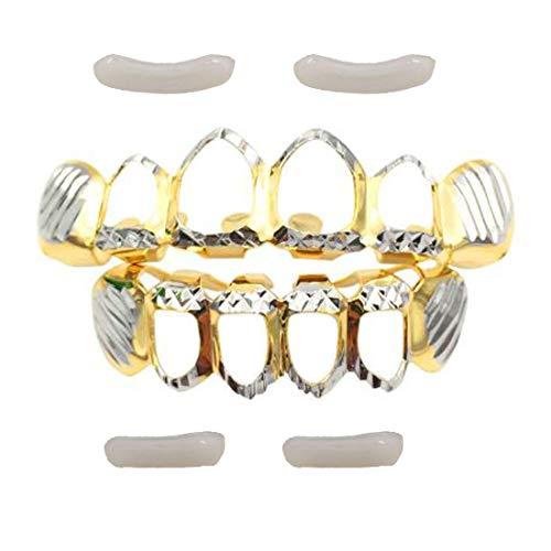 Glield Grill Oro Denti Hip-Hop Set Denti Hip Hop Superiore Inferiore + 2 Barre di Modellatura Extra YT04 (Silver)
