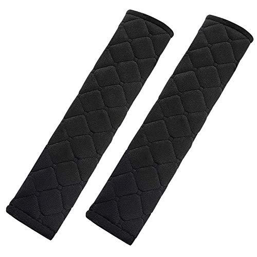 TRIXES Couverture de Sangle de Ceinture de sécurité - 2 Coussins Confortables avec Ceinture en Velcro pour Voiture - Coussins de Ceinture de sécurité matelassés Noirs - Noir