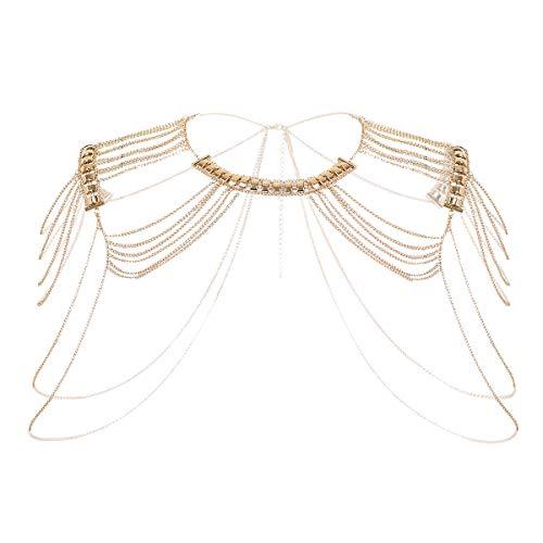 dPois Damen Halskette Körperkette Bikinikette Schulter Chain Schmuck Fransen Quasten Legierung mit Hummer Verschluss Sexy Zubehör Gold OneSize