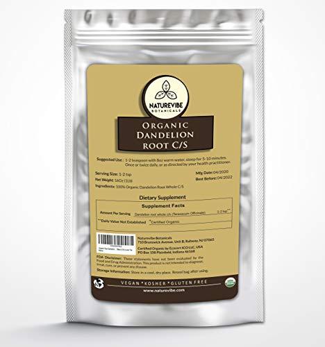 Naturevibe Botanicals Organic Raw Dandelion Root Tea Bulk Cut & Sifted (C/S) Loose Tea, 1lbs | Non-GMO and Kosher | Taraxacum Officinale (16 ounces)