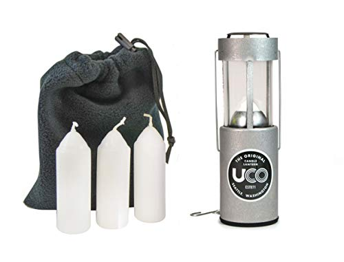 UCO Original Candle Lantern Value Pack with 3 Candles and Storage Bag, Aluminum