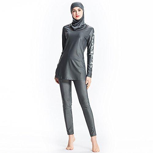 Ziyimaoyi Dezente muslimische Bademode für Frauen und Mädchen, Schwimmanzug (Hijab/Burkini), damen, grau, M