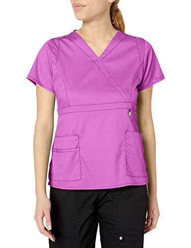 WonderWink Next Elizabeth Mock Wrap Women's Scrub Top, Electric Lilac, Small