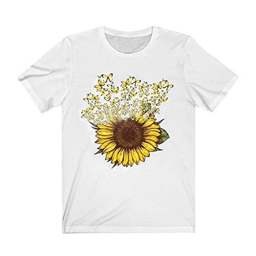 Tops T-Shirt Frauen Sonnenblume Cat Print Kurzarm Casual Tee (L,7Weiß)
