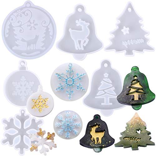 BHGT 8pz Stampi per Resina Stampo Silicone Fai da Te Ciondoli Natale Pendenti Natalizi Addobbi Oggetti Decorazioni Natalizie Albero di Natale Fiocchi di Neve Alce