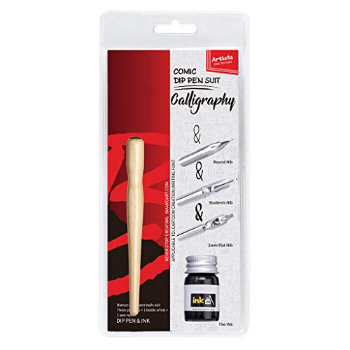 niumanery Manga Dip Pen Set Comic Pro Drawing Kit 3 Nibs Wood Holder Ink Calligraphy Tools