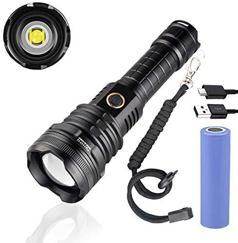Torcia LED Super Luminosa 7000 Lumen, 5 Modalità USB Ricaricabile, Alta Potenza XHP90 Militare Torce Elettrica Impermeabile con Zoom per Campeggio Esterno(con Batteria 18650)