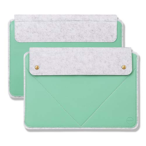 WALNEW Laptop Sleeve for 12.4' Surface Laptop Go, 13-13.3 Inch MacBook Air 2018-2020/MacBook Pro 2016-2020, 12.3' Surface Pro, 13' Surface Pro X Slim Laptop Case Cover with Dual Pockets, Mint Green