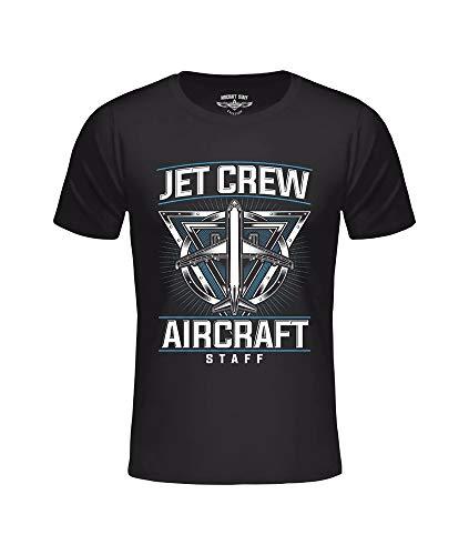 T-shirt AC Jet Crew zwart, vliegtuignavigatie