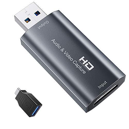 Foxnovo Videoschnittkarten — HDMI-Videoaufnahmekarte USB 2.0-Aufnahme über DSLR-Camcorder Action Cam für Videospiele, Streaming, Live-Übertragung