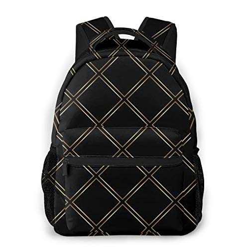 Gold and Black Daily Backpack,Stylish College School Backpack, Casual Daypack Backpack for Unisex/Business/Travel