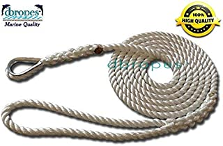 3 Strand Mooring Pendant Nylon Rope 3/8 in X 8; 10; 12; 14 Ft with Thimble