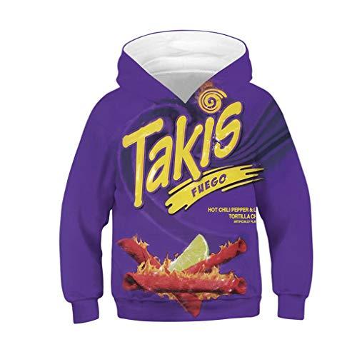 THINANO Herbst Winter Kinder Hoodies Nutella Cheetos Nudel Essen 3D Druck Teen Junge MäDchen Hoodie Sweatshirts Kinder Hoody Pullover Mantel Purple 12