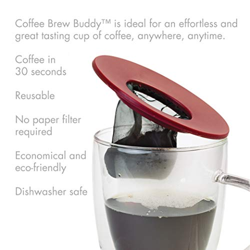 Primula Brew Buddy Portable Pour Over, Reusable Fine Mesh Filter, Dishwasher Safe, Single Cup of Coffee or Tea At Any Strength, Ideal For Travel or Camping, Red