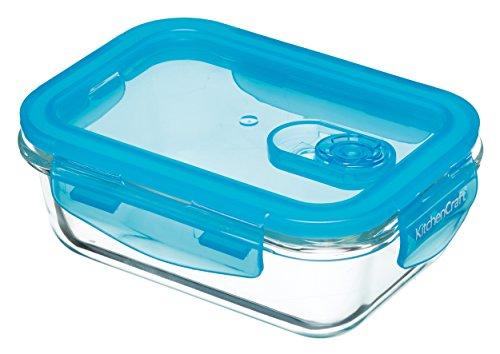 Kitchen Craft Pure Seal – Fiambrera de Cristal, Apta para el Horno, 350 ml, Sellado al vacío, Vidrio, Transparente, 350 ml (12.5 FL oz)