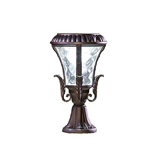 MFZWBGY Luces de poste al aire libre a prueba de agua solares Decoración simple Luces de patio Lámpara de césped retro europea Dispositivo de iluminación de vista del jardín Lámpara de calle del porch