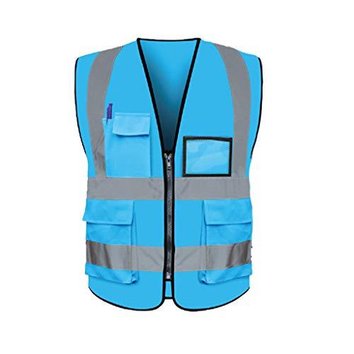 freneci Laufende Warnweste Zur Überprüfung Der Fahrzeugsicherheit Arbeitsausweishalter Arbeitskleidung - Himmel Blau