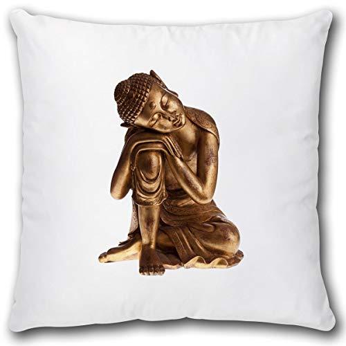 Geschenk Kissen mit Buddha Gold Motiv Dekokissen Wellness Geschenk für Frauen Freundin Buddhismus Zierkissen inkl. Füllung 40x40 cm