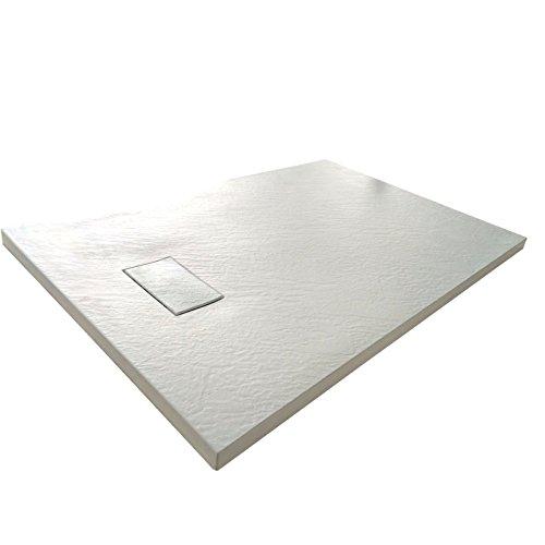 Piatto Doccia H.2,6 cm In Vetro-resina SMC Effetto Pietra Stone Ardesia Piletta Doccia Inclusa (80x120 h 2.6cm, Bianco)