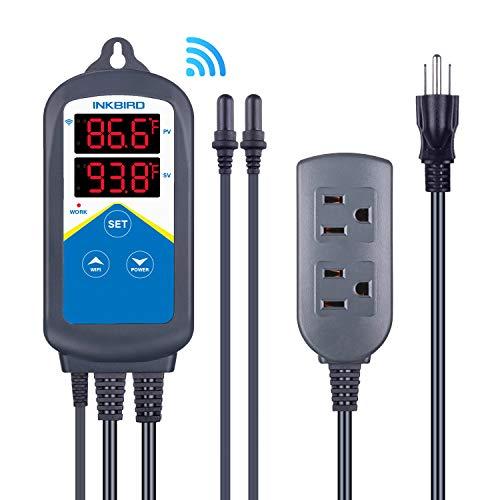 Inkbird ITC-306A WiFi Temperature Controller, Wi-Fi Aquarium Thermostat Heater Controller 120V~1200W Temperature Control with Two Probes only for Heater Aquarium Breeding Reptiles Hatching.