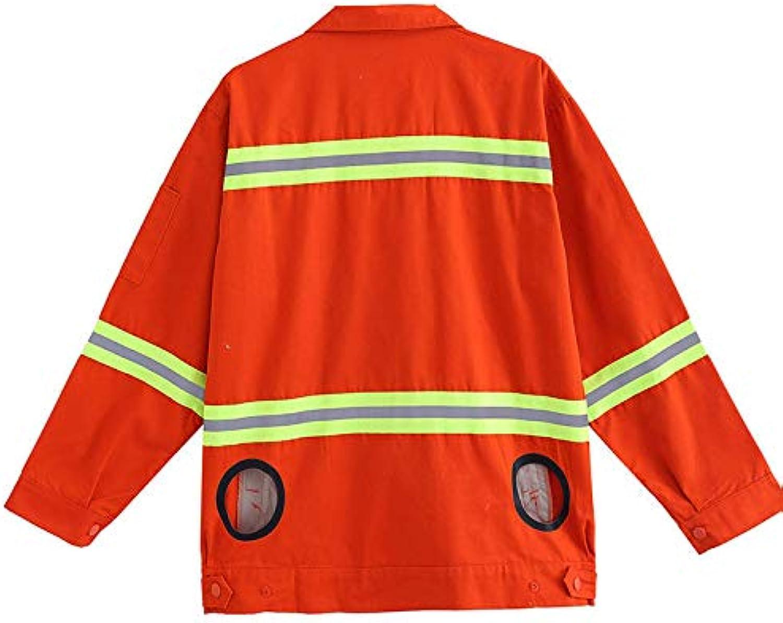 APENCHREN Lüfterjacke für Mnner Klimaanlage Kleidung, Sonnencreme Arbeitskleidung - für Hochtemperaturarbeiten im Freien Sommer Angeln Reisen Camping und Fahrrad,Orange-M