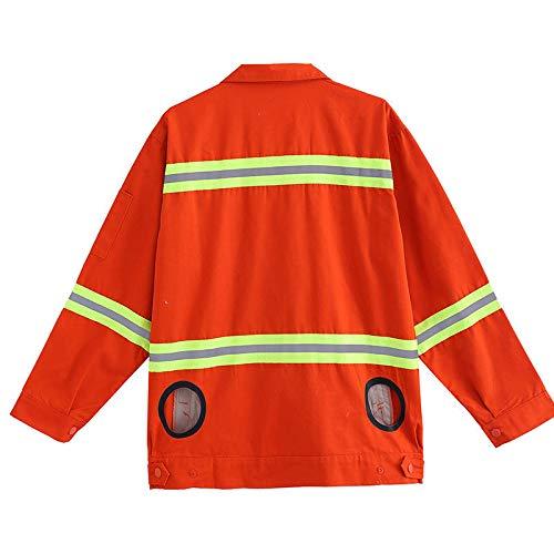 APENCHREN ventilatorjack voor mannen/airconditioning, kleding, zonnecrème, werkkleding, voor werkzaamheden in de open lucht, zomer, vissen, reizen, camping en fiets 4XL oranje