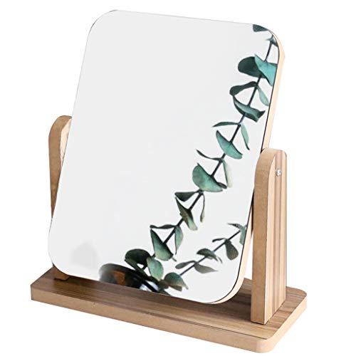 Miroir de Maquillage de Table, en Bois Commode Rotation À 360 ° HD Seul Côté Cosmétique Voyage Compact de Maquillage de Maquillage (Couleur : Marron)
