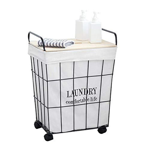 WJGJ Laundry Hamper Laundry Basket Storage Bin Retro Frame Wheeled Dirty Clothes Storage Basket Cotton Linen for Bedrooms Laundry Room Bathroom 3 Sizes (With Cover, Without Cover)
