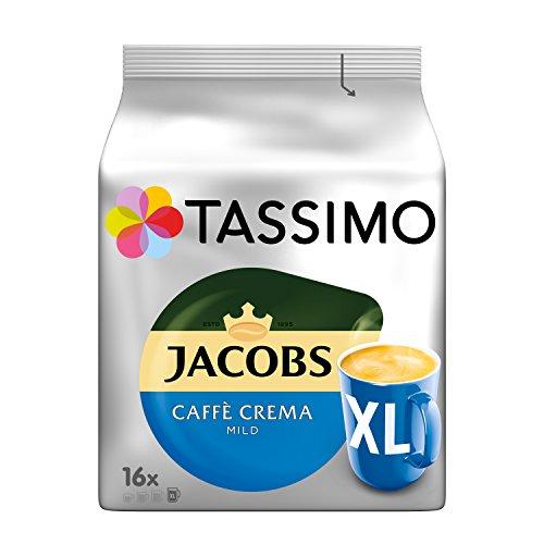 Tassimo Kapseln Jacobs Caffè Crema Mild XL, 80 Kaffeekapseln, 5er Pack, 5 x 16 Getränke