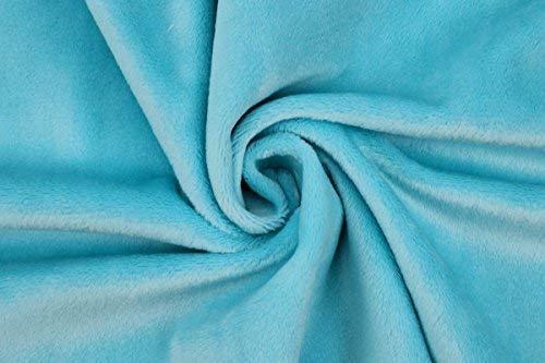 kullaloo Tessuto di Peluche in Microfibra, Linea: Shorty, a metraggio, Colore: Turchese, Lunghezza del Pelo: 1,5 mm, Certificazione EN71-3 e EN 71-9
