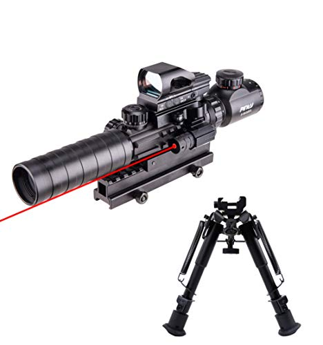 Pinty Rifle Scope 3-9x32 Rangefinder Illuminated Reflex Sight 4 Reticle Red Dot Laser Sight& Rifle Tactical Bipod Adjustable 6-9 Inch Spring Return Adapter Compatible with Picatinny Rail System