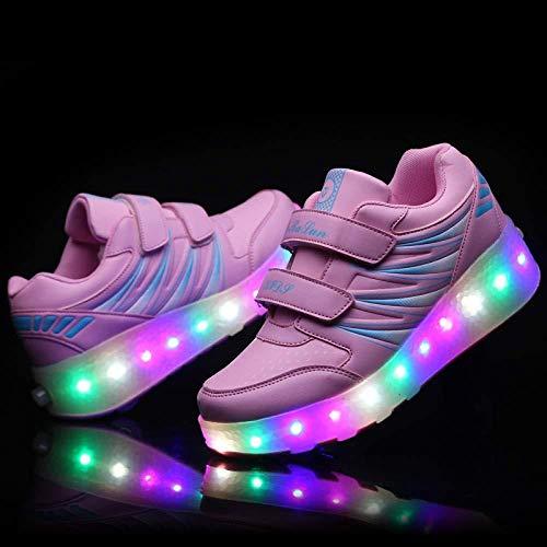 liangh Turnschuhe Mit LED-Licht Rad,Rollen Schuhe Für Jungen Mädchen,Kinder Freizeit Schuh,Einziehbar Glühen Räder,Draussen,Weiß-EU29,Pink-EU38