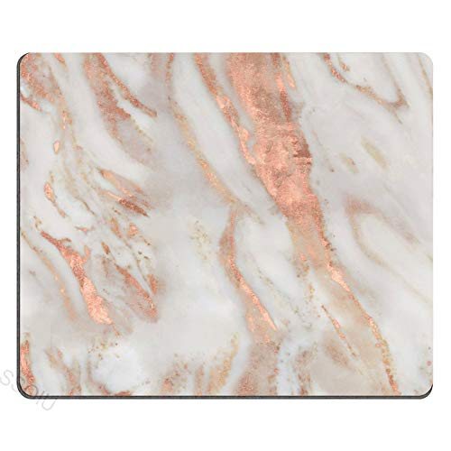 SSOIU Gaming Mouse Pad Custom, Abstract Chic Elegant Rose Gold and Eggshell Marble Print Art Rectangle Non-Slip Rubber Mouse Pad Mousepad Mat