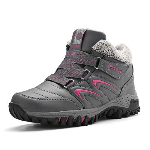 gracosy Waterproof Hiking Boots Snow Boots Sporting Shoes Winter Sneakers Fashion Boots Warm Shoes Running Shoes Outdoor Casual Ankle Shoes Fur Lined Bootie Gray 8