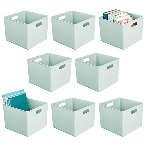 mDesign Plastic Home Storage Organizer Bin for Cube Furniture Shelving in Office, Entryway, Closet, Cabinet, Bedroom, Laundry Room, Nursery, Kids Toy Room - 8 Pack - Mint Green