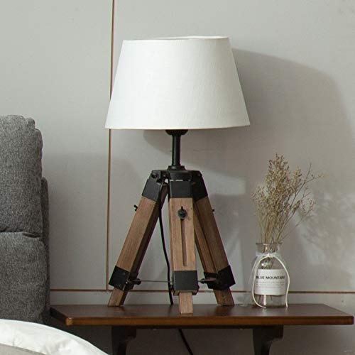 BJLWTQ Lámparas de Piso nórdicas Lámpara de Tela de Madera Trípode Lámpara de pie Compatible con Mesa de Estar Moderna Dormitorio Decoración para el hogar Lámparas de iluminación