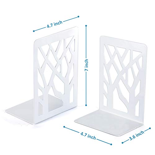 Book Ends, Bookends, Book Ends for Shelves, Bookends for Shelves, Bookend, Book Ends for Heavy Books, Book Shelf Holder Home Decorative, Metal Bookends White 2 Pair, Bookend Supports, Book Stoppers Photo #3