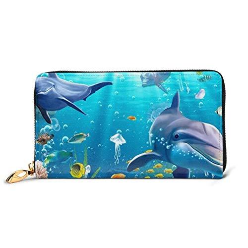 Bajo el agua pescado impreso cartera de cuero mujeres cremallera bolso embrague bolsa viaje tarjeta de crédito titular monedero