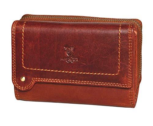 MATADOR Damen Leder Geldbörse TüV geprüfter RFID & NFC Schutz Portemonnaie Vintage Braun