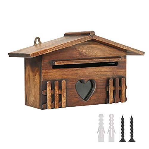 GJCrafts Buzón de madera, al aire libre montado en la pared seguro buzón de sugerencias a prueba de lluvia para la decoración del jardín