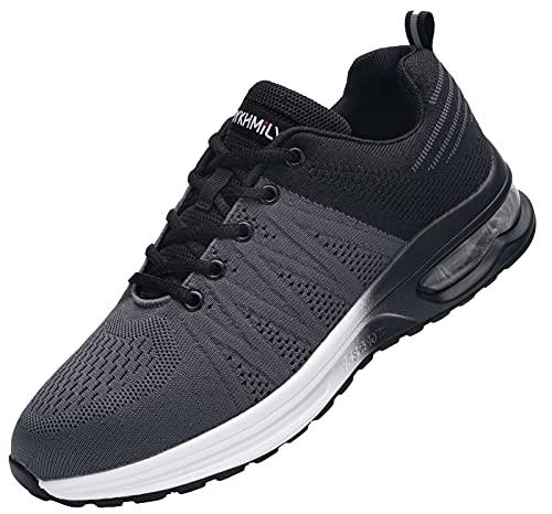 Zapatos de Seguridad Hombre,Zapatillas de Seguridad con Punta de Acero Ultraligero Transpirables Zapatos de Trabajo(Negro Gris,42)