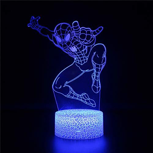 3D luz nocturna, lámpara de ilusión LED 3D Spider-Man c cargador USB, bonito juguetes geniales regalos ideas cumpleaños vacaciones Navidad para bebé