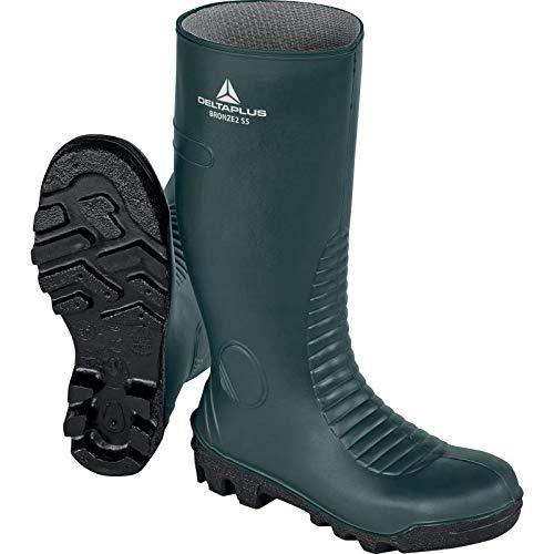DELTAPLUS Bota de seguridad de PVC CE S5 Sra impermeable para protección del pie y puntera de lámina de metal bronce