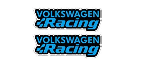 Racing Aufkleber kompatibel mit Volkswagen VW Auto Heckscheibe Sticker / Plus Schlüsselringanhänger aus Kokosnuss-Schale / Golf GTI Polo Scirocco Lupo Passat Touareg Käfer (4 Aufkleber 10x3.6cm)