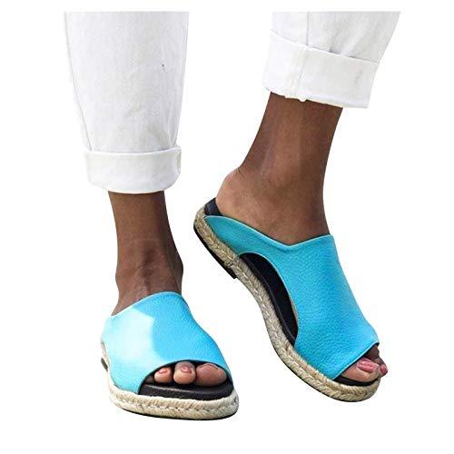 Aniywn Slippers Sandals for Women Espadrille Platform Wedge Heel Peep Toe Sandals Summer Vintage Flat Slippers Sky Blue