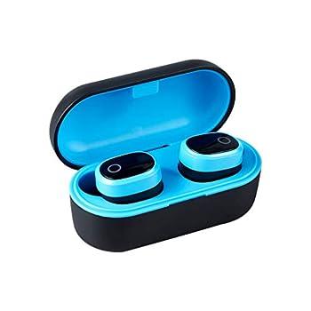 Bluetooth Earphones Wireless Earbuds Waterproof BT5.0 Earphones in-Ear Wireless Headphone Stereo Earbuds Sports Headset with Mic On-Ear Headphones  Blue