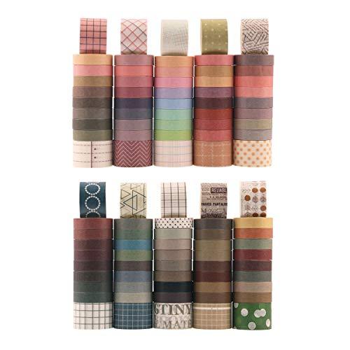 100 rollos de Cinta Washi Vintage, NogaMoga 10 mm / 25 mm de Ancho, Cinta Adhesiva Decorativa Washi Tape Decorativa para DIY, Bullet Journal, Manualidades, Tarjetas de Felicitación, Scrapbooking