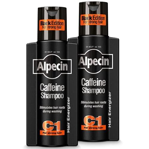 Alpecin Black Edition Champú Cafeína C1 2x 250ml   Champu anticaida hombre y con cafeina   Tratamiento para la caida del cabello   Alpecin Shampoo Anti Hair Loss Treatment Men