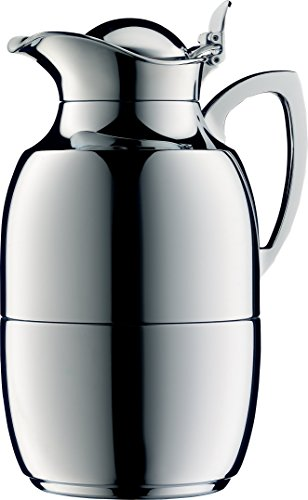 alfi Juwel Glass Vacuum Chrome Plated Brass Thermal Carafe for Hot and Cold Beverages, 1.0 L, Chrome