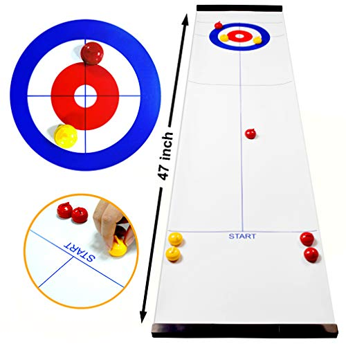 Fun Kids Games for School//Travel//Office//Best Parent-Child Games Family Games Tabletop Curling Game for Kids and Adults Wonder Cool Tabletop Curling Compact Portable Mini Curling Board Game